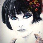 femmme-cheveux-noirs-150x150 acrylique dans Aquarelle
